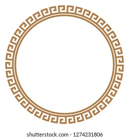 Greek key round frame. Typical egyptian, assyrian and greek motives circle border. Arabic geometric texture. Islamic Art. Abstract geometric. Vector and illustration.