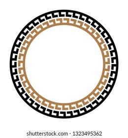 Greek key round frame. Typical egyptian, assyrian and greek motives circle border. Arabic geometric texture. Islamic Art. Abstract geometric. Vector and illustration.