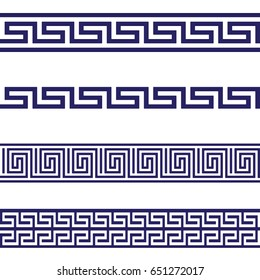 Greek Key Seamless Border Patterns Blue. Vector.