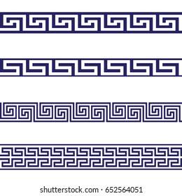 Greek Key Seamless Border Patterns Blue. Vector.