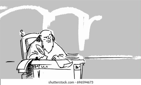 Greek man sitting, thinking and writing. Vector sketch for storyboard, projects, cartoon