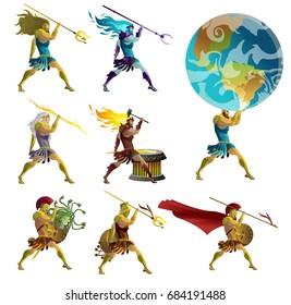 greek mythology gods, titan and warriors