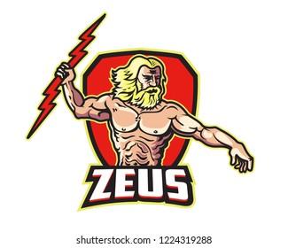 Greek Mythology Zeus God Cartoon Character Mascot Holding Thunder