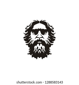 Greek Old Man Face like God Zeus Triton Neptune Philosopher with Beard and Mustache Logo design