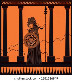 greek orange and black amphora drawing of athena