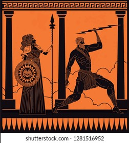 greek orange and black amphora drawing of athena and zeus
