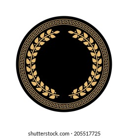 Greek ornament with wreath in a circle vector