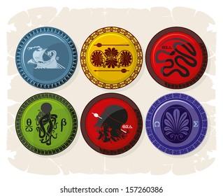 Greek ornaments in combat shields, vector