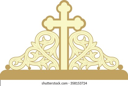 Greek orthodox byzantine cross with decorative ornaments