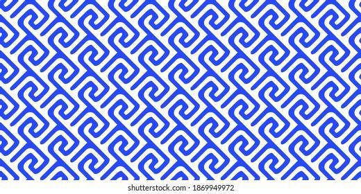 griechisches Muster. nahtlose alte Ornament mit Schlüsselelement. Abstrakte geometrische blaue und weiße Linie. Vektorhintergrund für Stoffgewebe, Mode, Keramikboden, Ziergewebe, Textur