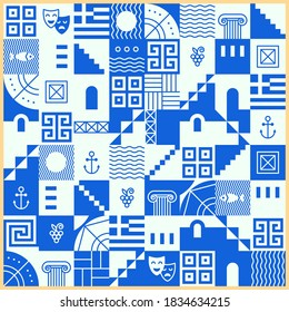 Greek pattern with square tiles, set of traditional symbols of Greece. Blue and white collection of travel icons, culture signs, city elements, simple combination of shapes and lines