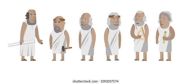 Greek philosophers scientists. Isolated vectors