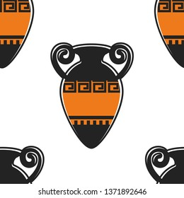 Greek pottery and Greece symbol ancient amphora seamless pattern vector old vase with ornament and handles endless texture vessel history and antiquity jug or relic traveling and culture exploration