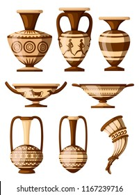Greek pottery icon collection. Amphora with patterns, rhyton, kylix. Greek or roman culture. Brown color and patterns. Flat vector illustration isolated on white background.