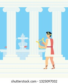 A Greek in a red cloak playing the lyre stands on the steps of the Palace