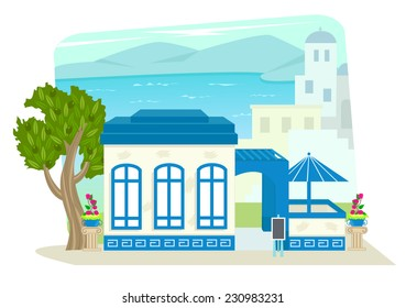 Greek Restaurant - Greek restaurant with a patio and olive tree in the front, and a Mediterranean landscape in the background. Eps10