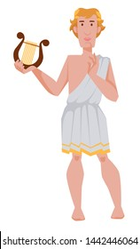 Greek or Roman god of archery music and dance Apollo vector isolated male character with harp mythology and legends Zeus son theology Olympus mount dweller medicine and healing youth patronage.