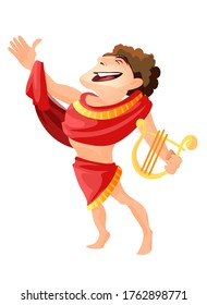 Greek or Roman god of archery music and dance. Apollo vector isolated, male character with harp mythology and legends. Zeus son theology Olympus mount dweller medicine and healing youth patronage