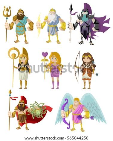 greek roman gods goddess heroes stock vector royalty free rh shutterstock com