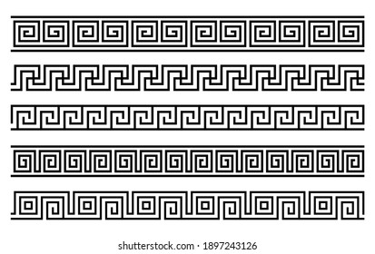Greek roman pattern border decorative ornament. Ancient greek meander vector design wave