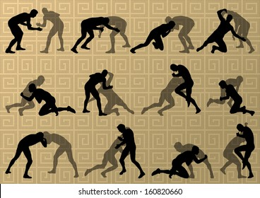 Greek roman wrestling active men sport silhouettes vector abstract background illustration