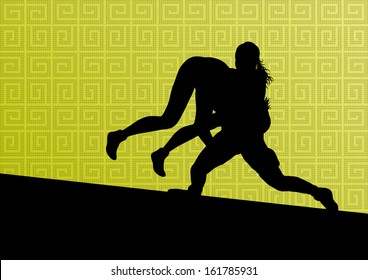 Greek roman wrestling active young women sport silhouettes vector abstract background illustration