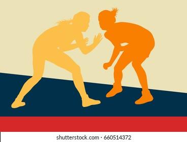 Greek roman wrestling woman fight vector background