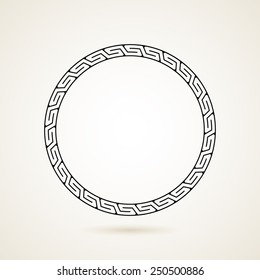 Greek round frame vector illustration on white background