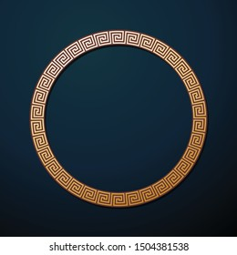 Greek round metal frame with Greek ornament vector