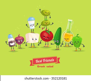 Greek salad. Cute  and funny cartoon vegetable characters with olive oil. Best friends set. Vector stock illustration