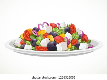 Greek salad of fresh vegetables and cheese in large white ceramic plate object isolated on a white background