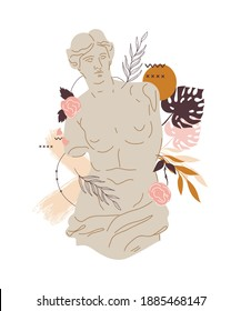 Greek sculpture of Venus goddess with various decorative abstract and floral elements, flat vector illustration isolated on white background. Greek statue for cards and textile prints.