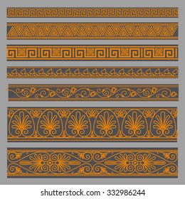 Greek seamless patterns, textures, orange on a gray background part 2. Isolated objects. EPS 10.