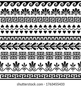 Greek seamless vector pattern set - ancient floral and geometric ornament, key pattern in black and white. Retro monochrome decoration with floral shapes inspired by traditional art from Greece