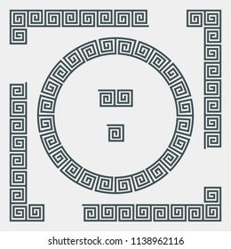 Greek set of frame, corner and border, roman ornament vector