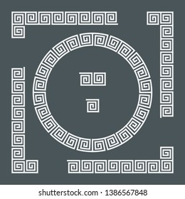 Greek set of frames, corner and border, roman ornament vector