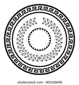 Greek shield with ornament illustration vector. Antique symbol