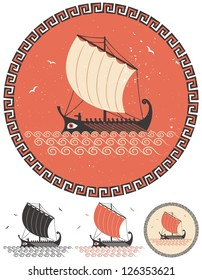 Greek Ship: Stylized illustration of ancient Greek ship in 4 different versions.