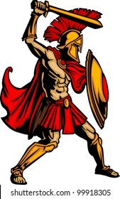 Greek Spartan or Trojan Soldier holding a shield and sword