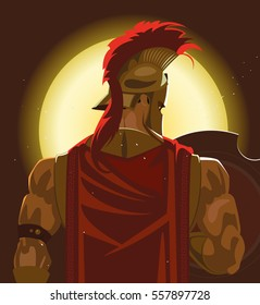 Greek Spartan Warrior or Trojan Soldier holding shield and sword - Vector Illustration