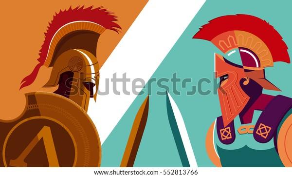 Греческий спартанский воин против троянского солдата держит щит и меч - векторная иллюстрация.