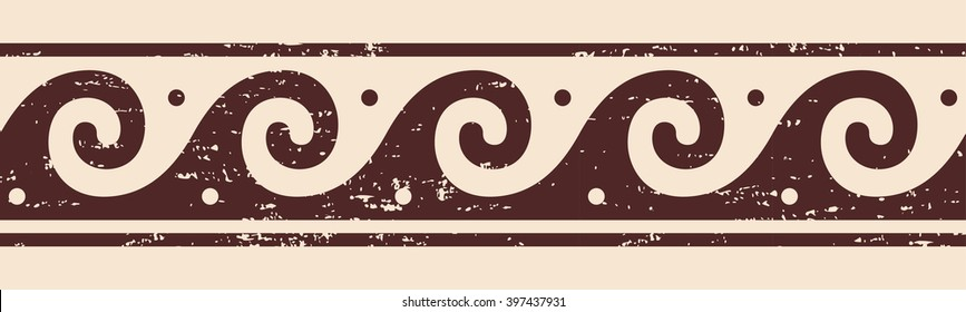 Greek style frame ornament with the effect of aging. Brown pattern on a beige background.