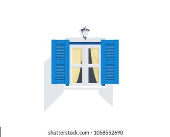 Greek Style windows - blue and white window