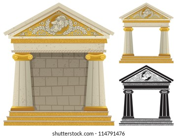 Greek Temple: Cartoon Greek frame with copy space in it, to be used as frame. No transparency used. Basic (linear) gradients.