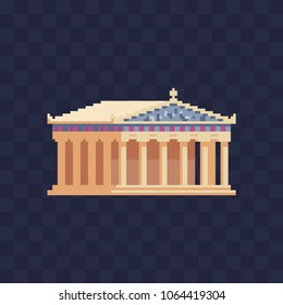 Greek temple with columns pixel art icon building ancient monument architecture symbol isolated vector illustration. Column pillar parthenon landmark. Design logo, mobile app, sticker, embroidery.