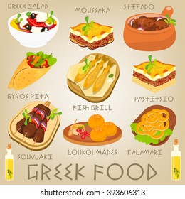 Greek Traditional Food Set. Greek Cuisine. Food Collection. Vector Illustration.