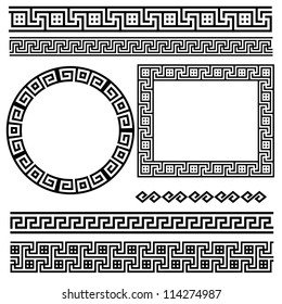 Greek traditional meander border set. Vector antique frame pack. Decoration element patterns in black and white colors. Ethnic collections. Vector illustrations.