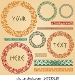 Greek traditional meander border set. Vector antique frame pack. Decoration element patterns in beige background. Ethnic collections. Vector illustrations. Can be used as divider, frame, etc