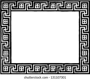 Greek traditional meander pattern. Vector antique frame. Monochromatic illustration isolated on white background