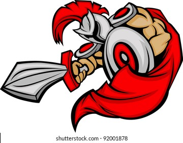 Greek Trojan or Roman Soldier Mascot holding a shield and sword